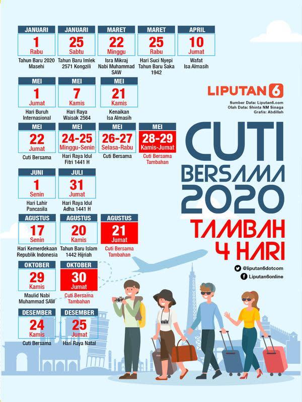 Infografis Cuti Bersama 2020 Tambah 4 Hari (Liputan6.com/Abdillah)