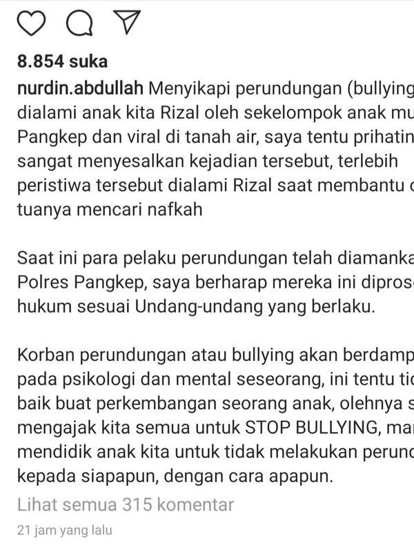 Unggahan Gubernur Sulawesi Selatan, Nurdin Abdullah. (Foto: Instagram @nurdin.abdullah)