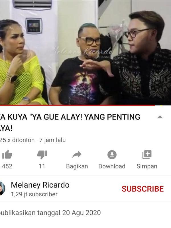 Unggahan Melaney Ricardo. (Foto: YouTube Melaney Ricardo)
