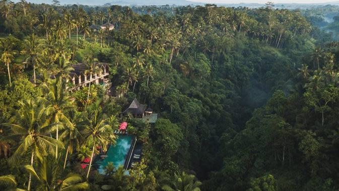 Kolam yang dikelilingi dengan hutan rindang seketika membawa eksotisme tersendiri yang menakjubkan (Foto: Chapung Sebali Resort & Spa)