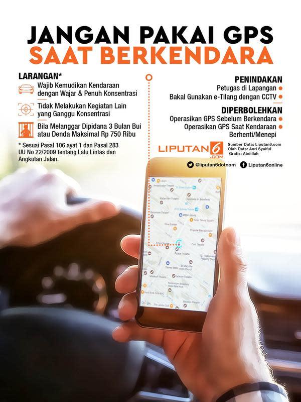 Infografis Jangan Pakai GPS Saat Berkendara. (Liputan6.com/Abdillah)