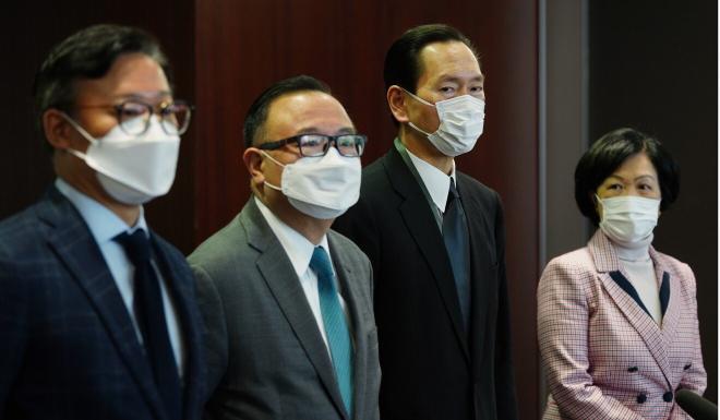 Horace Cheung (left), Martin Liao, Bernard Chan and Regina Ip visited California. Photo: Sam Tsang