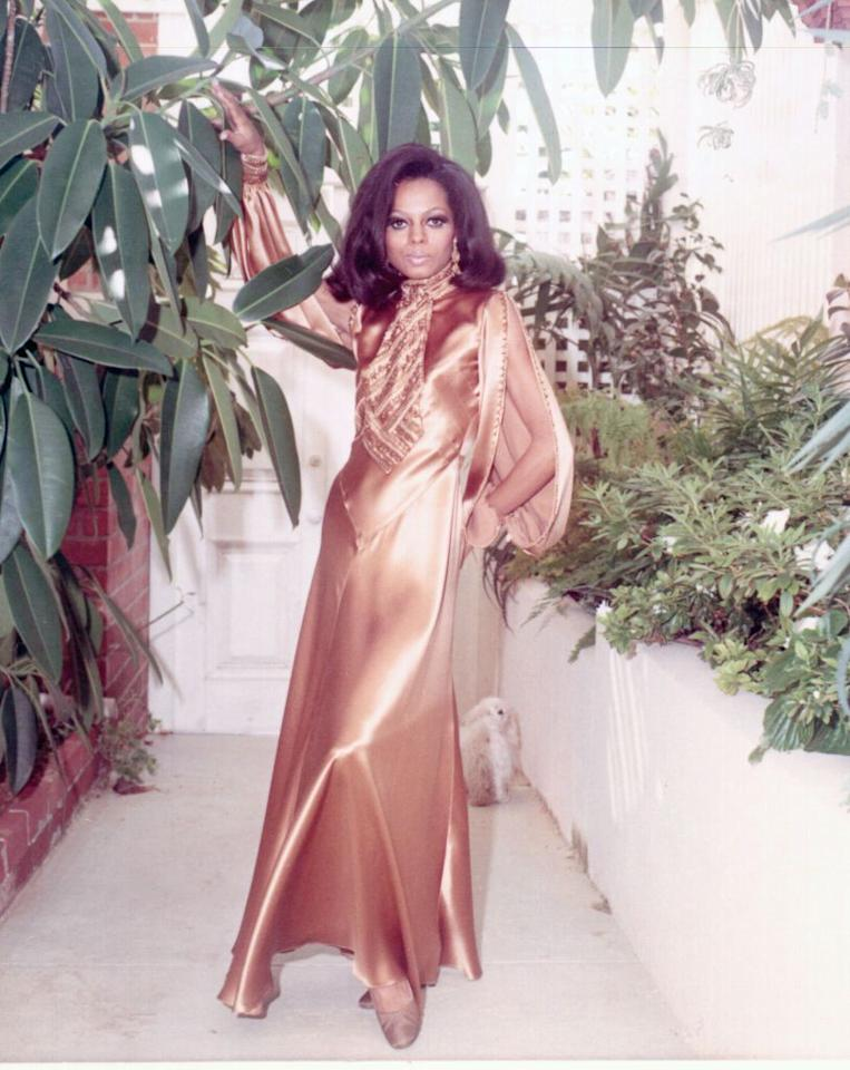 <p>Songstress Diana Ross is statuesque in bronze satin dress with billowy sleeves. </p>