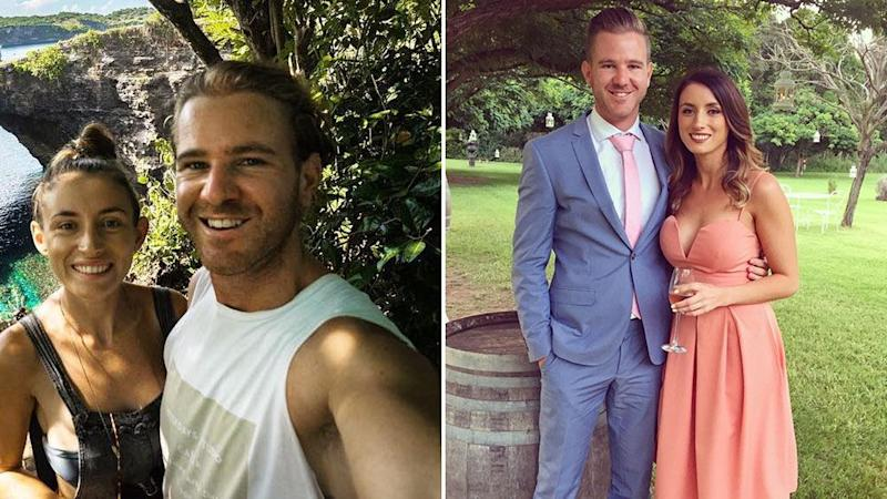 Jolie King and Mark Firkin pictured (left) at a beach and (right) dressed in evening wear.