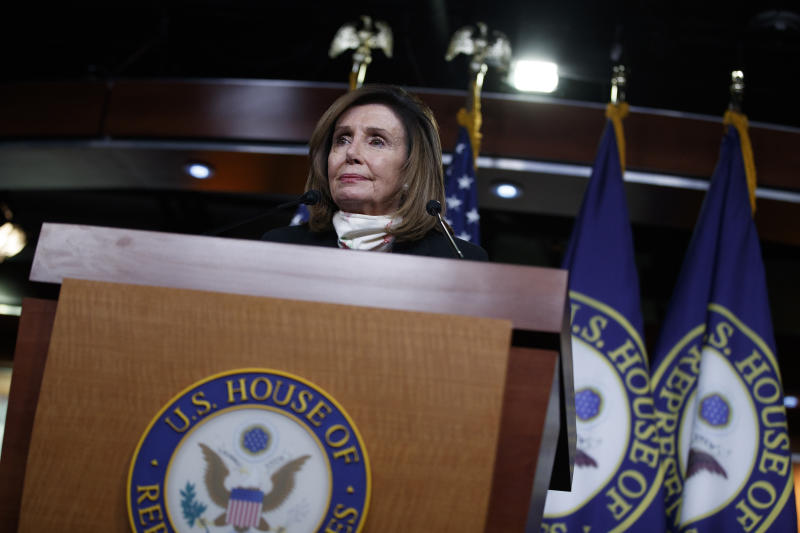 FILE - In this May 28, 2020, file photo House Speaker Nancy Pelosi of Calif., pauses as she speaks during a news conference on Capitol Hill in Washington. (AP Photo/Carolyn Kaster, File)