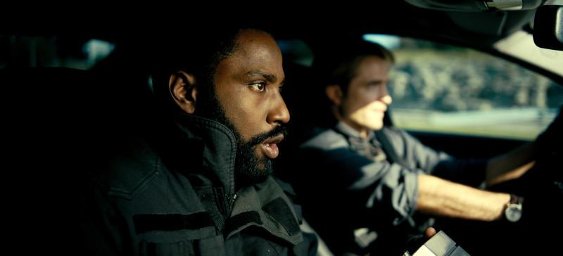 John David Washington and Robert Pattinson in a still from Tenet. (Warner Bros.)