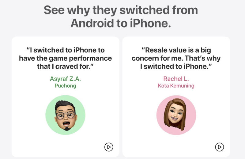 The 'Hear from Switchers' videos have actual testimonials from new iPhone users. — Screenshot of campaign webpage