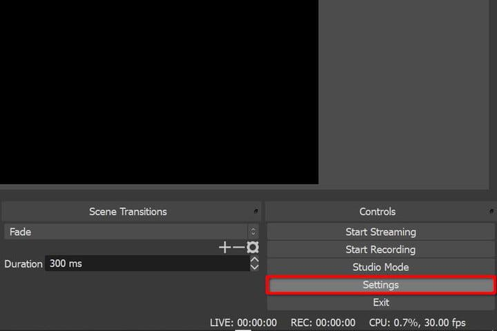 OBS Settings button