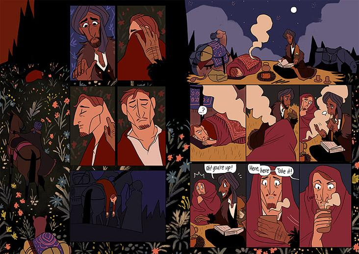 Pages from Yee's Eisner-nominated graphic novel 'The Carpet Merchant of Konstantiniyya'