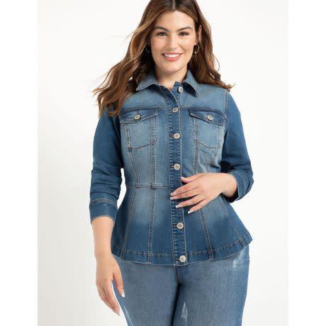 ELOQUII Elements Women's Plus Size Denim Peplum Jacket (Photo via Walmart)