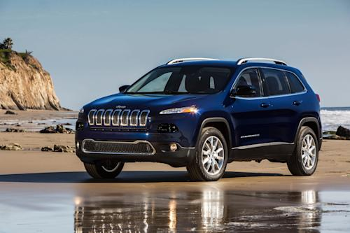 This undated publicity photo provided by the Chrysler Group LLC shows the all-new 2014 Jeep Cherokee Limited. The new Cherokee has a dramatic look that makes one wonder if it's a Jeep. It ditches the traditional boxy look for a more aerodynamic style and replaces the brand's round headlights with sharply angled slits. It has a much smaller grille. (AP Photo/Chrysler Group LLC)