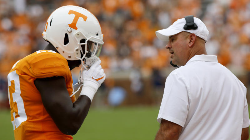 Jeremy Pruitt hasn't gotten off to a great start as the head coach of the Tennessee Volunteers since his hiring in late-2017. (Getty)