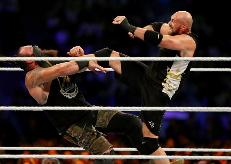 Wrestling - WWE Crown Jewel - Tyson Fury v Braun Strowman - King Fahd International Stadium, Riyadh, Saudia Arabia - October 31, 2019 Tyson Fury in action with Braun Strowman REUTERS/Ahmed Yosri