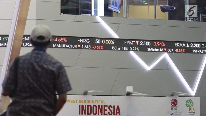Karyawan memantau pergerakan Indeks Harga Saham Gabungan (IHSG) 2018 di Kantor BEI, Jakarta, Jumat (28/12). Presiden Joko Widodo atau Jokowi menutup langsung perdagangan IHSG 2018. (Liputan6.com/Angga Yuniar)