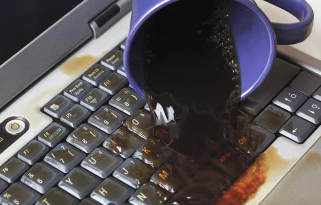 Spilled liquid on laptop