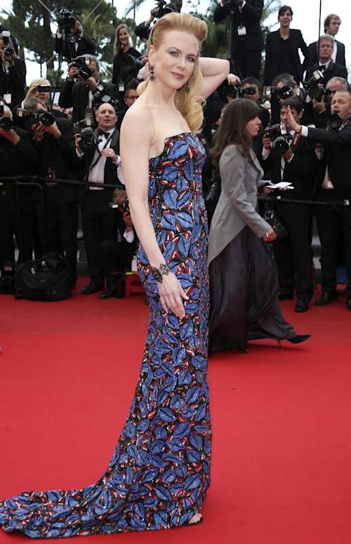 "FILE - This May 19, 2013 file photo shows actress and jury member Nicole Kidman wearing an embroidered L'Wren Scott dress for the screening of the film ""Inside Llewyn Davis"" at the 66th international film festival, in Cannes. (Photo by Joel Ryan/Invision/AP, file)"
