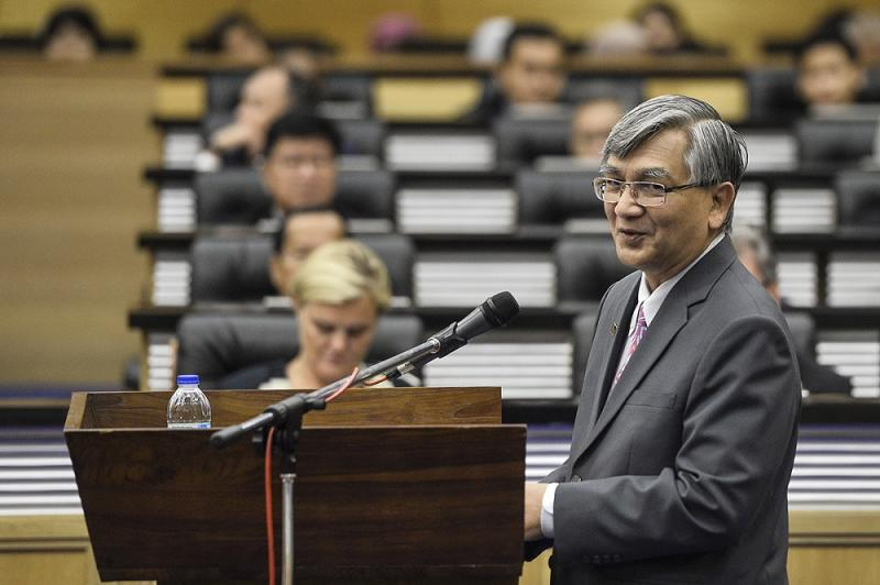 Speaker Datuk Mohammad Ariff Md Yusof speaks at Parliament in Kuala Lumpur in this file picture taken on July 26, 2019. — Picture by Miera Zulyana