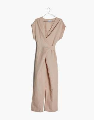"""<p><strong>Madewell</strong></p><p>madewell.com</p><p><strong>$248.00</strong></p><p><a href=""""https://go.redirectingat.com?id=74968X1596630&url=https%3A%2F%2Fwww.madewell.com%2Frujuta-sheth-linen-cotton-venus-wrap-jumpsuit-M4835.html&sref=https%3A%2F%2Fwww.harpersbazaar.com%2Ffashion%2Ftrends%2Fg32441222%2Fcute-camping-outfit-ideas%2F"""" target=""""_blank"""">Shop Now</a></p><p>Make sure to get a breezy, breathable fabric that you can confidently walk miles in.</p>"""