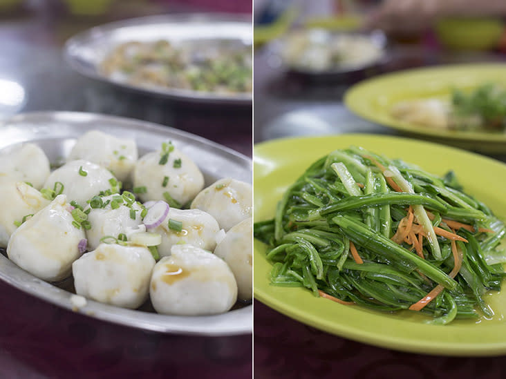 Bouncy 'saitou' fish balls (left). Always order some greens! (right)