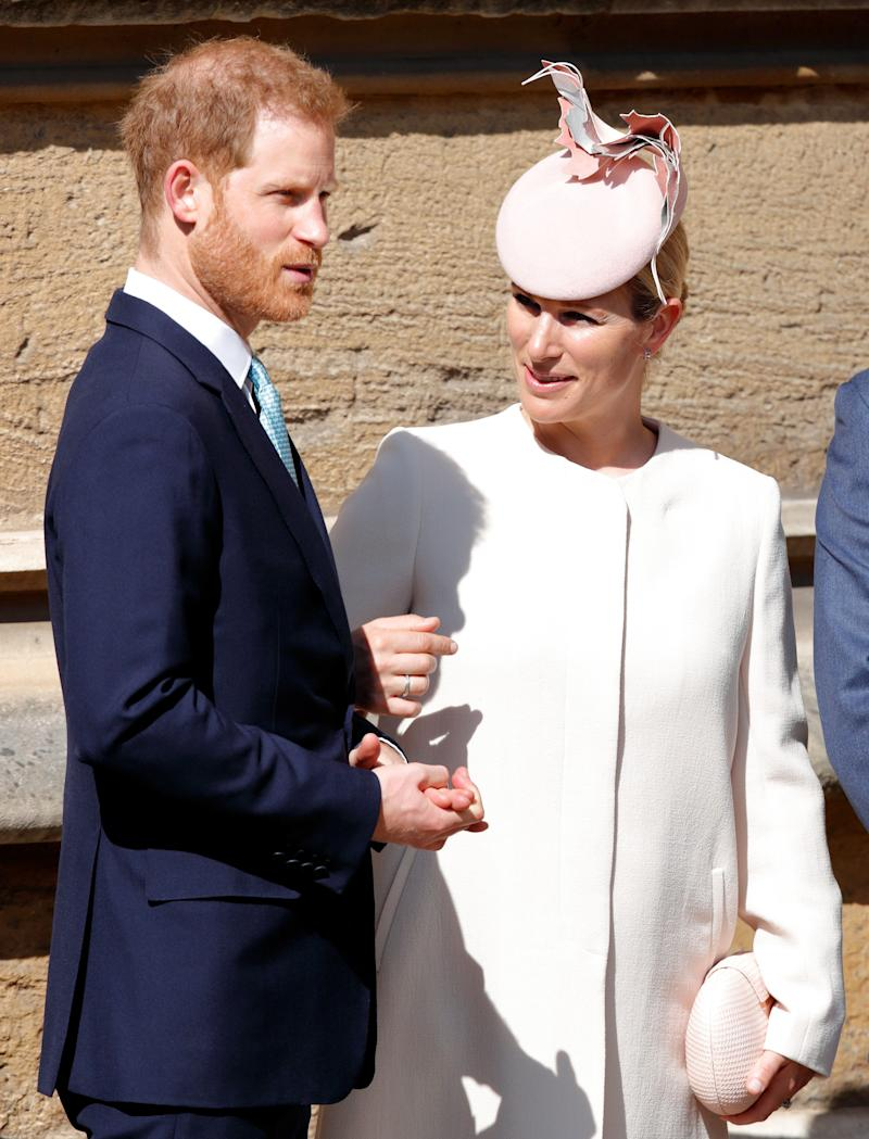 WINDSOR, UNITED KINGDOM - APRIL 21: (EMBARGOED FOR PUBLICATION IN UK NEWSPAPERS UNTIL 24 HOURS AFTER CREATE DATE AND TIME) Prince Harry, Duke of Sussex and Zara Tindall attend the traditional Easter Sunday church service at St George's Chapel, Windsor Castle on April 21, 2019 in Windsor, England. Easter Sunday this year coincides with Queen Elizabeth II's 93rd birthday. (Photo by Max Mumby/Indigo/Getty Images)