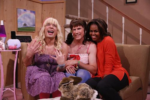 "From left: Host Jimmy Fallon, actor Will Ferrell, First Lady Michelle Obama during the ""Ew"" skit on Thursday Feb. 20, 2014 during comedian Fallon's inaugural week as the new ""Tonight Show"" host. (AP Photo/NBC, Lloyd Bishop)"