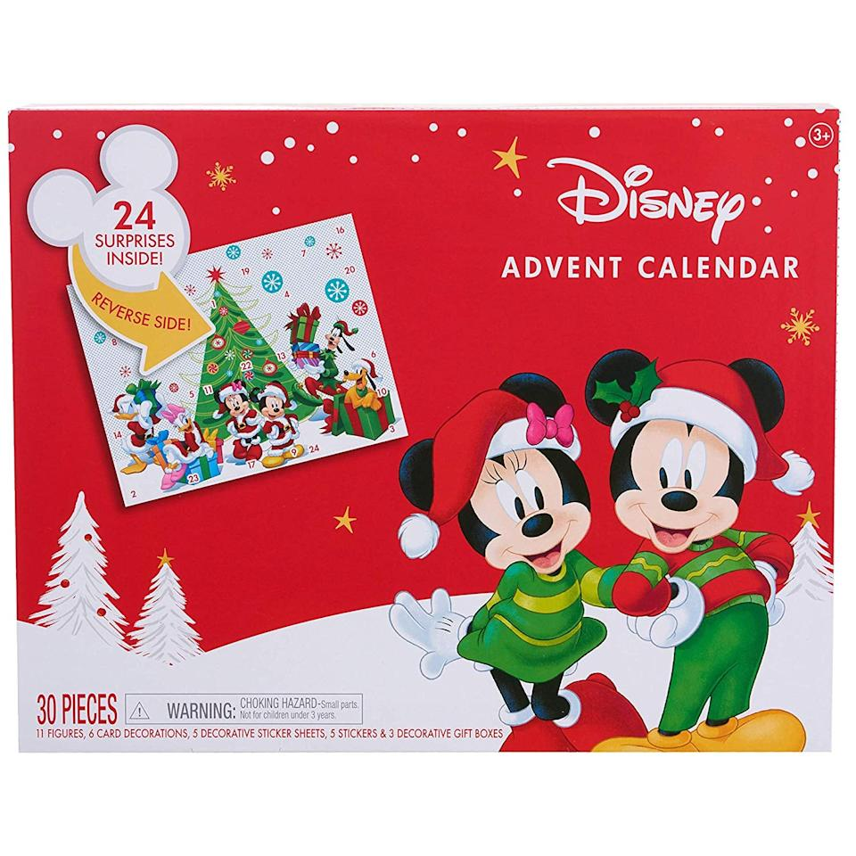 """<p>The <a href=""""https://www.popsugar.com/buy/Disney-Mickey-Mouse-Advent-Calendar-488252?p_name=Disney%20Mickey%20Mouse%20Advent%20Calendar&retailer=amazon.com&pid=488252&price=33&evar1=moms%3Aus&evar9=45341361&evar98=https%3A%2F%2Fwww.popsugar.com%2Ffamily%2Fphoto-gallery%2F45341361%2Fimage%2F46587041%2FDisney-Mickey-Mouse-Advent-Calendar&list1=gifts%2Choliday%2Cadvent%20calendars&prop13=mobile&pdata=1"""" rel=""""nofollow"""" data-shoppable-link=""""1"""" target=""""_blank"""" class=""""ga-track"""" data-ga-category=""""Related"""" data-ga-label=""""https://www.amazon.com/Disney-Mickey-Mouse-Advent-Calendar/dp/B019TGERF4/"""" data-ga-action=""""In-Line Links"""">Disney Mickey Mouse Advent Calendar</a> ($33) features your kid's favorite mouse in fun holiday outfits. </p>"""