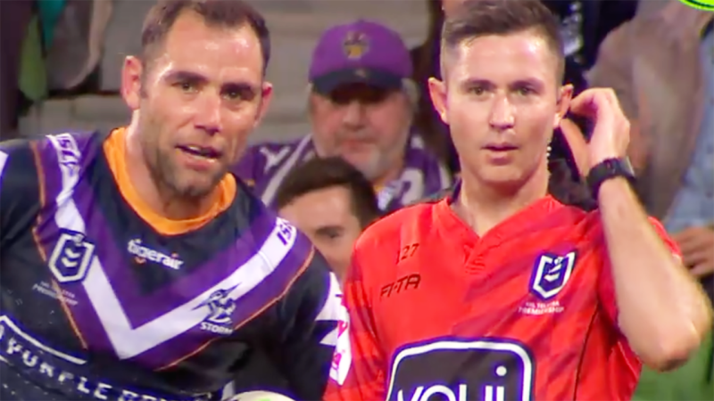 Cameron Smith, pictured here complaining to the referee.