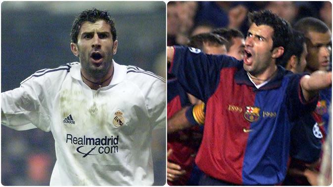Legenda Real Madrid, Luis Figo, memiliki label tersendiri bagi fans Barcelona. Kepindahannya dari Barcelona ke Real Madrid adalah salah satu drama terbesar di dunia sepak bola, bahkan Figo dilabeli sebagai penghianat abadi oleh fans Barcelona kala itu. (kolase foto AFP)