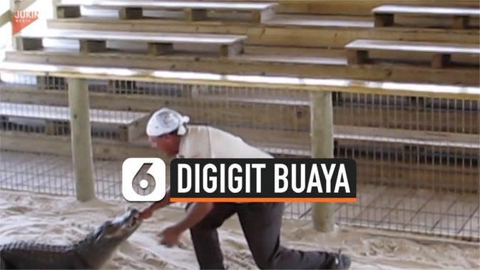 VIDEO: Detik-Detik Tangan Pelatih digigit Buaya
