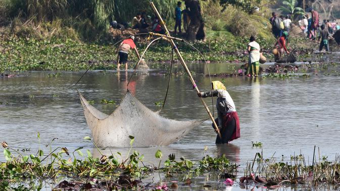 "Penduduk desa menggunakan jaring ikan saat mengikuti acara memancing bersama dalam perayaan panen Bhogali Bihu di Danau Goroimari di Panbari, Assam, India, pada 14 Januari 2020. ""Bhogali Bihu"" menandai berakhirnya musim panen di bagian timur laut negara bagian Assam. (Xinhua/Str)"