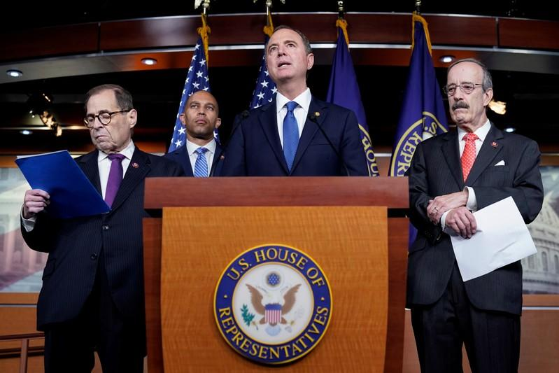 House committee chairmen speak after a House vote approving rules for an impeachment inquiry into U.S. President Trump in Washington.