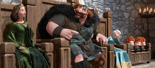 "In this image provided by Disney, from left, Queen Elinor, voiced by Emma Thompson, King Fergus, voiced by Billy Connolly, Princess Merida, voiced by Kelly Macdonald, and triplets Princes Harris, Hubert and Hamish are shown in a scene from the animated feature ""Brave."" (AP Photo/Disney-Pixar Animation)"