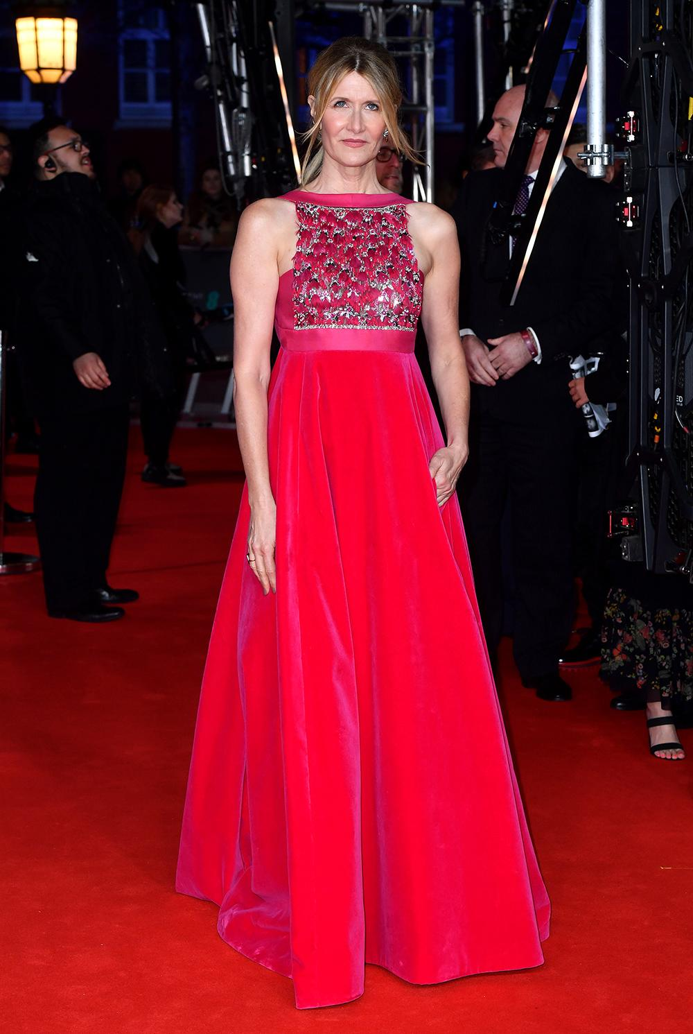 Laura Dern wore a beautiful Valentino gown in fuchsia [Image: PA]