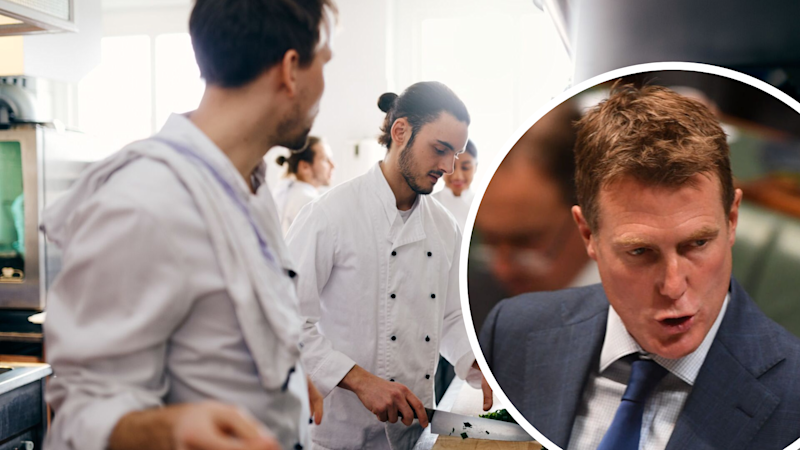 Pictured: Christian Porter, restaurant workers. Images: Getty