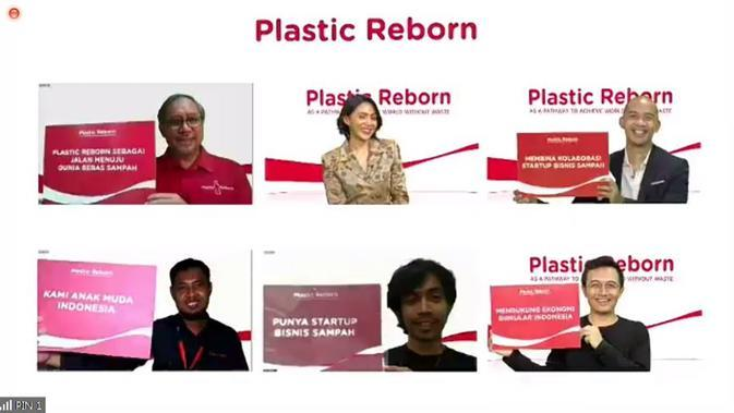 Virtual press briefing hasil kolaborasi Startup dalam program Plastic Reborn 2.0. (dok. screenshot Liputan6.com/Asnida Riani)