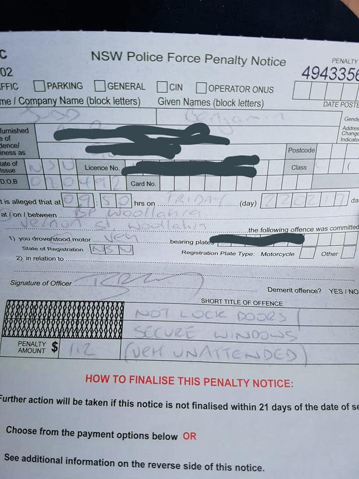 Ben Judd's penalty notice for leaving car unlocked.