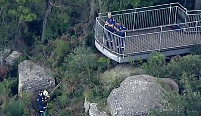 Rescuers at the scene at Mount Keira near Wollongong in the Illawarra region. Source: Nine News