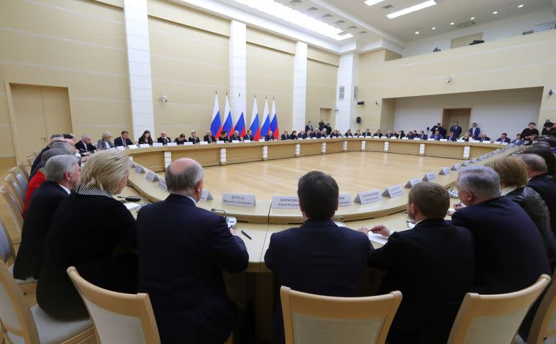 Russian President VladimirPutin chairs a meeting to prepare amendments to the Russian constitution at Novo-Ogaryovo state residence outside Moscow