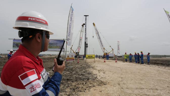 PT Pertamina EP Cepu (PEPC) melakukan pemancangan Perdana EPC Gas Processing Facisilty (GPF) proyek pengembangan lapangan gas unitisasi Jambaran - Tiung Biru (JTB). Dok Pertamina EP