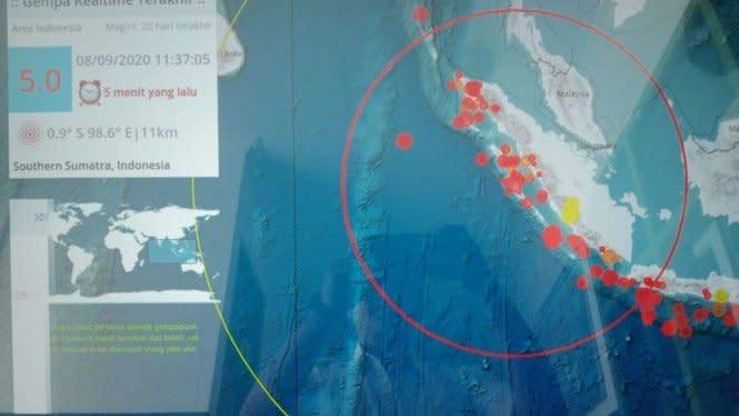 Mentawai Diguncang Gempa Magnitudo 5,0, Dipicu Aktivitas Sesar