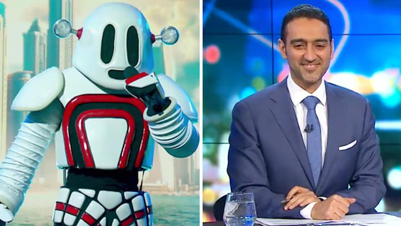 A photo of Waleed Aly alongside a photo of the Robot on The Masked Singer.