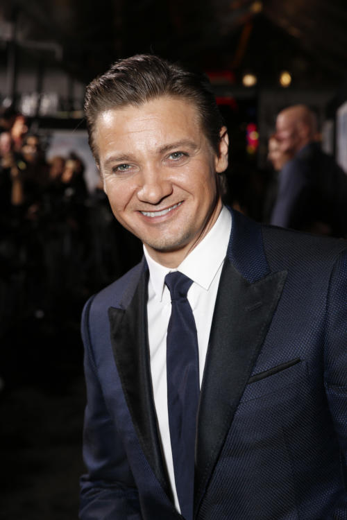 """Jeremy Renner arrives at the premiere of """"Hansel & Gretel Witch Hunters"""" on Thursday Jan. 24, 2013, in Los Angeles. (Photo by Todd Williamson/Invision/AP)"""