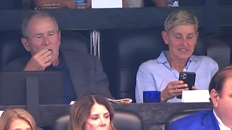 This shot of George W. Bush and Ellen DeGeneres at the Green Bay Packers and the Dallas Cowboys game sparked an internet storm. Photo: Twitter