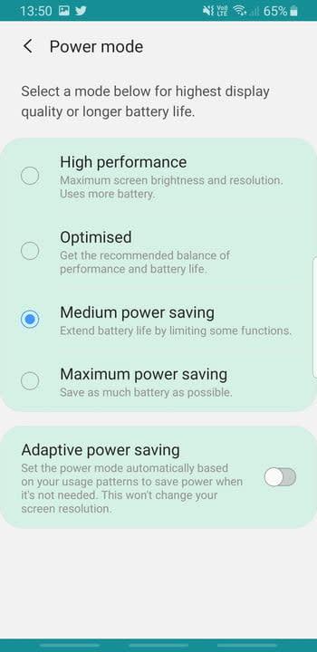 Screenshot of Power Savings settings on Samsung Galaxy S8
