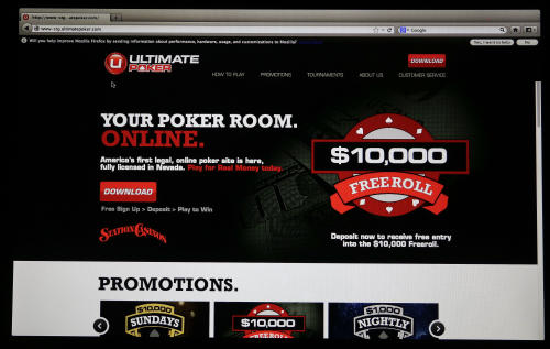 The home page for Ultimate Poker by the company Ultimate Gaming is seen on a computer screen at the company's headquarters, Monday, April 29, 2013, in Las Vegas. The social gaming company is expected to launch the first legal, real-money poker site in the U.S. Tuesday morning. The Ultimate Gaming site will be available only to in players in Nevada, but likely represents the shape of things to come for gamblers across the country. (AP Photo/Julie Jacobson)