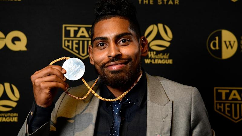 Wellington Phoenix's Roy Krishna celebrates winning the Johnny Warren Medal