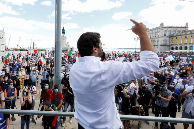 Supporters of Portugal's far-right Chega protest in Lisbon