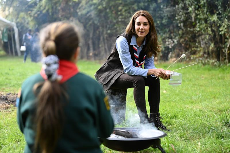 During her visit the duchess toasted marshmallows with Cubs and Beaver Scouts. (Getty Images)