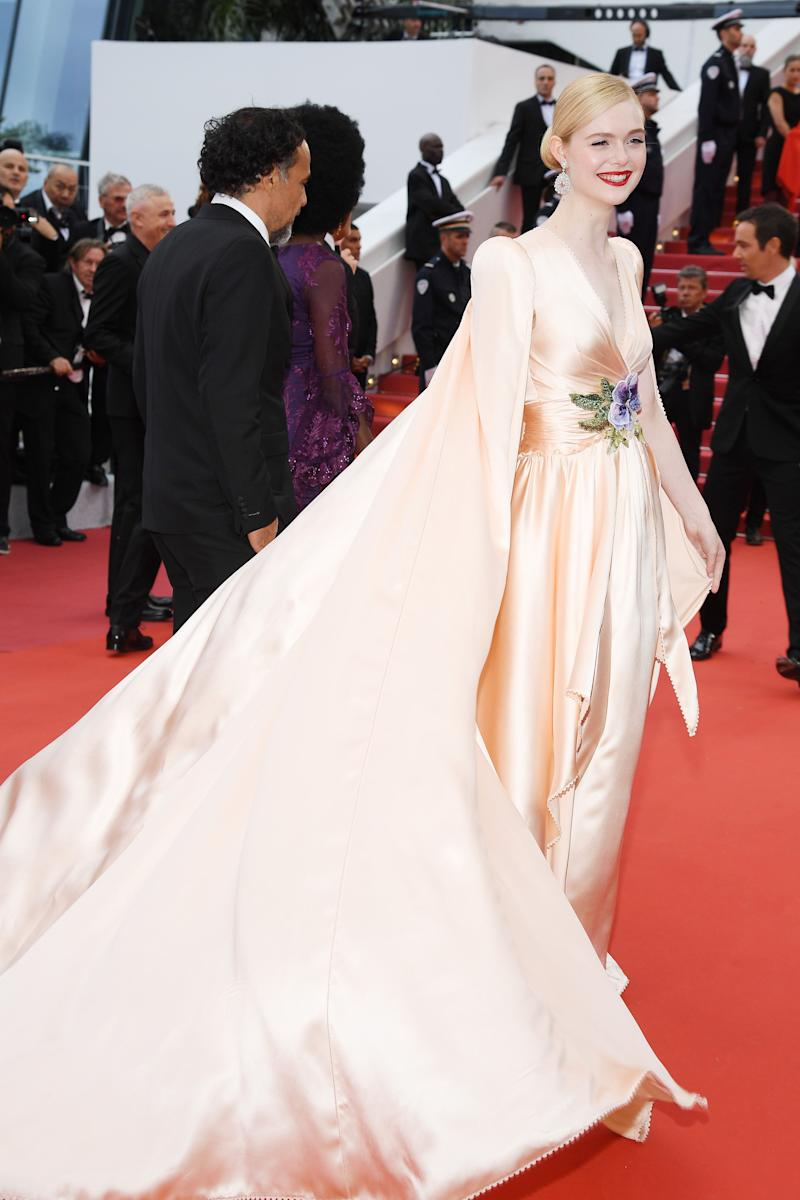 Elle Fanning on the Cannes Film Festival red carpet in Gucci