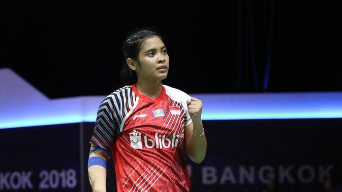 Gregoria Mariska Tunjung selalu menyumbang poin untuk Indonesia pada penyisihan Grup D Piala Uber 2018 di Impact Arena, Bangkok, Thailand. (Humas PP PBSI)